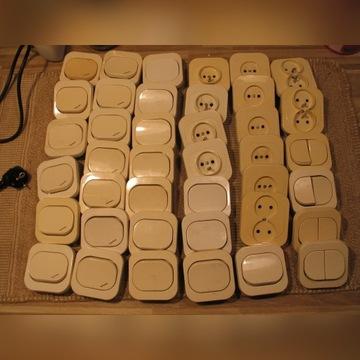Właczniki, przełączniki schodowe, gniazda 40 sztuk