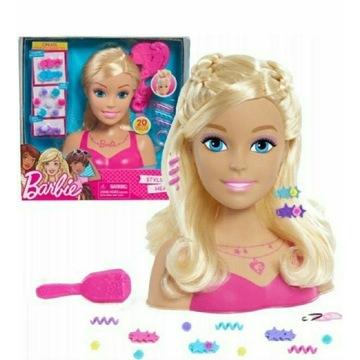 BARBIE glowa do czesania blond, spinki i grzebien.