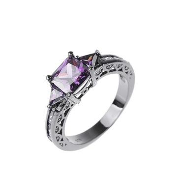 Nowy czarny pierścionek fioletowe cyrkoni retro go