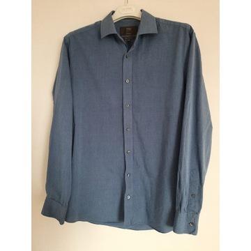 M&S koszula męska niebieska granatowa bawełna 100%
