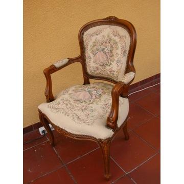 stary fotel- krzesło z gobelinem ludwik