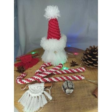 Mikołaj makrama ozdoby świąteczne dekoracje wnętrz