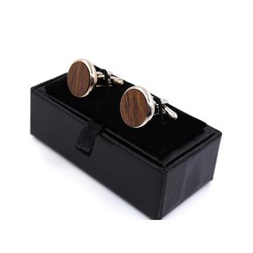 Spinki do mankietów, drewniane + ozdobne pudełko G