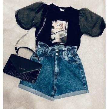 Tshirt Zara z tiulowymi rękawami rozm S