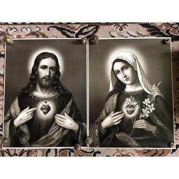Przedwojenne oleodruki Sepia Serce Pana Jezusa