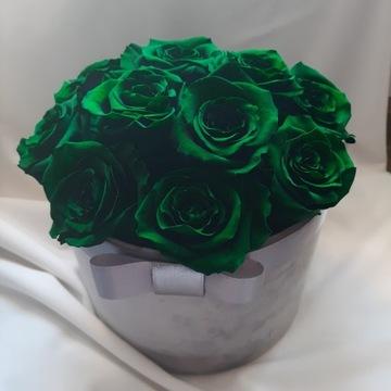 Flowerbox Velvet z zielonych wiecznych róż