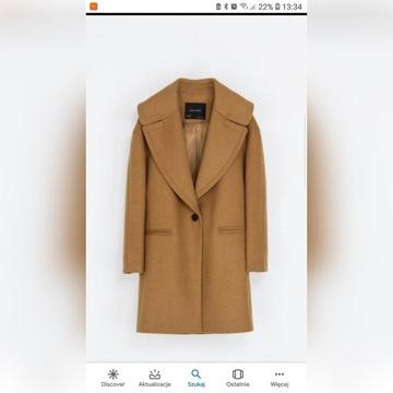 Płaszcz ZARA camel brązowy r. S 36 trencz kożuch