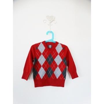 H&M elegancki sweter czerwony w romby 86/92 cm