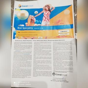 bon o wartości 2 000 zł na wycieczkę w Coraltravel