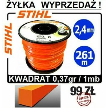 STIHL żyłka 2,4mm do kos KWADRATOWA rolka 261m org