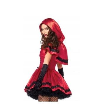 Czerwony kapturek kpl sukienka+peleryna satynowe