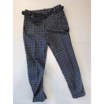 Spodnie cygaretki etno z paskiem Zara S