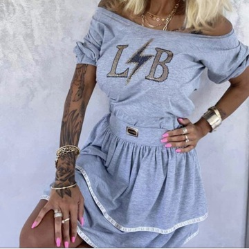 Komplet spódnica + bluzka lola Bianka szary LB