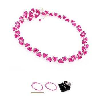 Naszyjnik z kryształów SWAROVSKI różowy fuksja