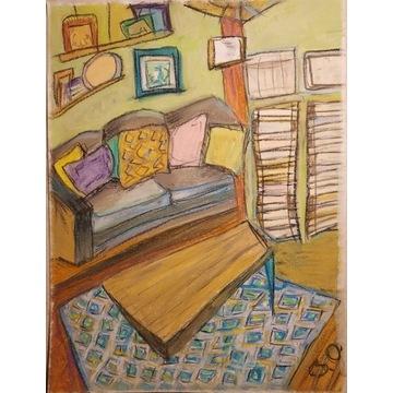 Obraz rysunek boho pastel suchy A3 rama obrazek