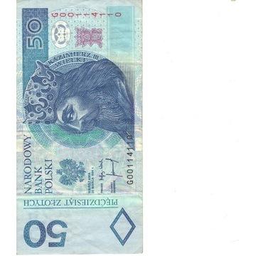 50 ZŁ RADAR, Ładny numer, Banknot Kolekcjonerski