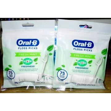 Oral-B Floss Picks Fresh Mint 75 szt. - Nici USA