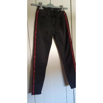 Szare spodnie z lampasem, przed kostki XS/S