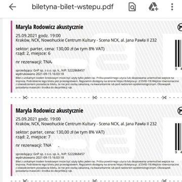2 bilety na koncert Maryli Rodowicz w Krakowie