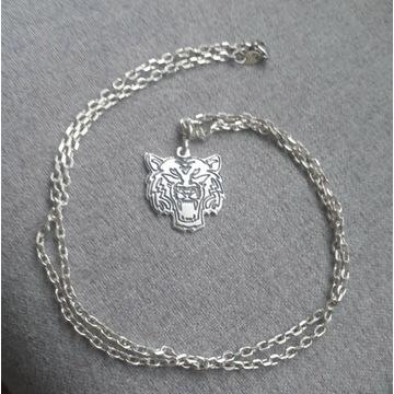 Nowy srebrny komplet łańcuszek Młody Kot Kubańczyk