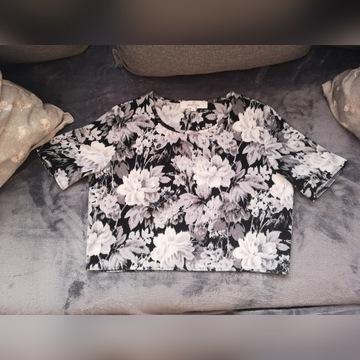 Krótka koszulka kwiaty, S