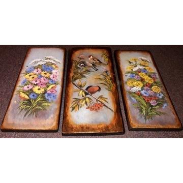 Kwiaty i ptaszki na deskach malowane