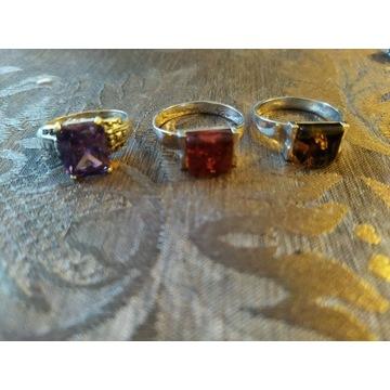 Efektowne pierścienie srebrne kryształ w  ok. 27