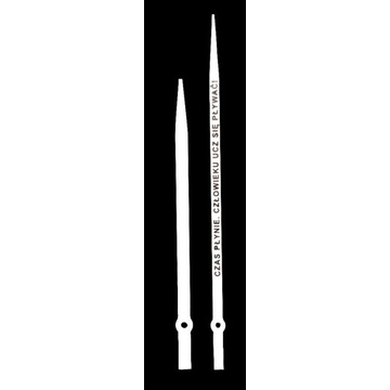 Wskazówki do zegara długie białe z napisem 3D