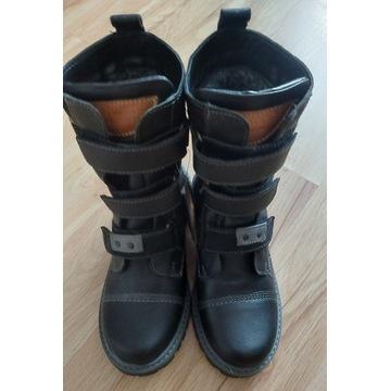 Kozaki, buty zimowe chłopięce, skórzane, 32 rozm.