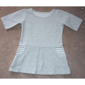 Szara sukienka na krótki rękaw