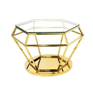 Złoty stolik kawowy ława glamour loft diament
