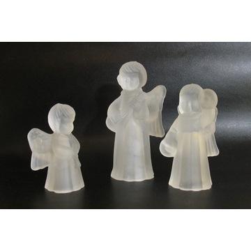 Świeczniki kryształowe komplet. 3 szt. Figurki