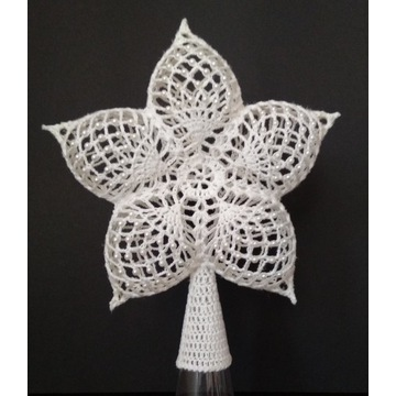 Gwiazda szydełkowa na czub choinki handmade