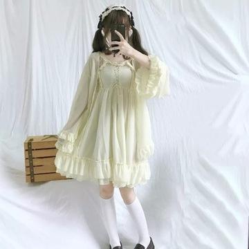 Sukienka Sweet Lolita Beż Kawaii Harajuku Vintage