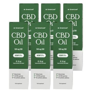 6x Green Leaf CBD Oil 5% - Czysty Olej Konopny