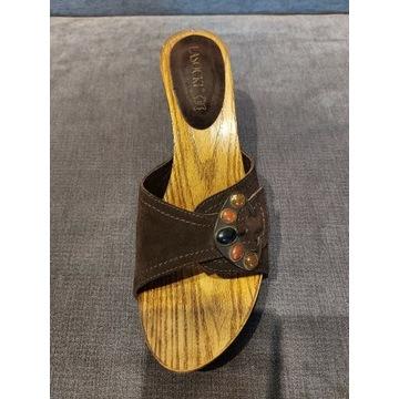 Klapki drewniane skóra LASOCKI r.40