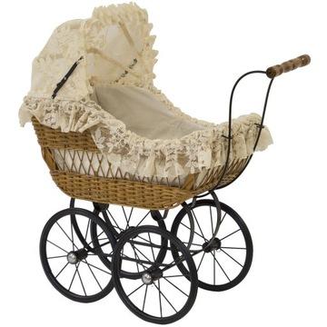 Wózek dziecięcy rattanowy retro bawełna brąz
