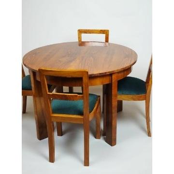 Okrągły stół Art deco, lata 50, orzech