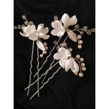 Ozdoba do włosów, kokówki ślubne, białe kwiaty