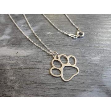Łańcuszek srebrny z łapką psa