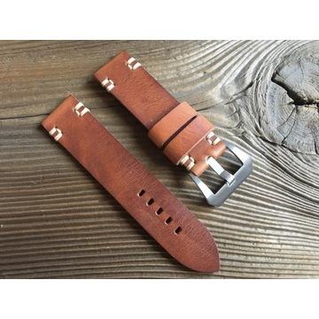 Pasek do zegarka ręcznie robiony skórzany 22 mm