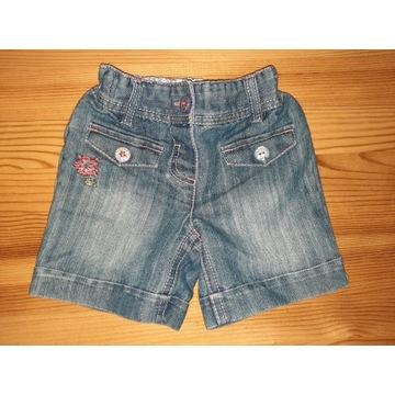 Krótkie spodenki jeans dżins Next 6-9 m 74