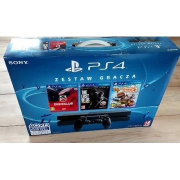 PS4 + 3 gry, słuchawki i panel