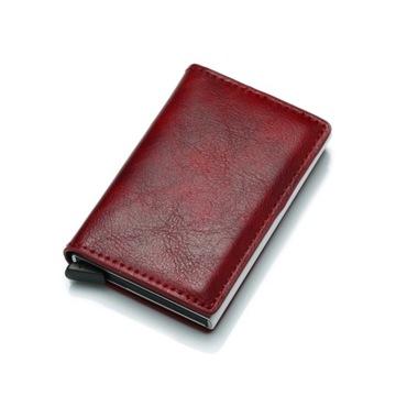 Etui wysuwane na karty bankomatowe, czerwone