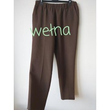 Włoskie spodnie wełniane brązowe cygaretki chinosy