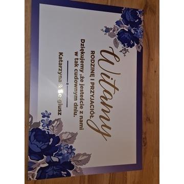 Tablica weselna Witamy Gości 60x40cm złota srebrna
