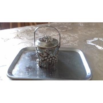 koszyczek posrebrzany ze szklanym wkładem