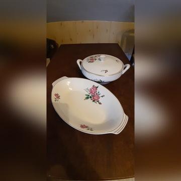 Porcelanowa waza i półmisek sygnowane Chodzież
