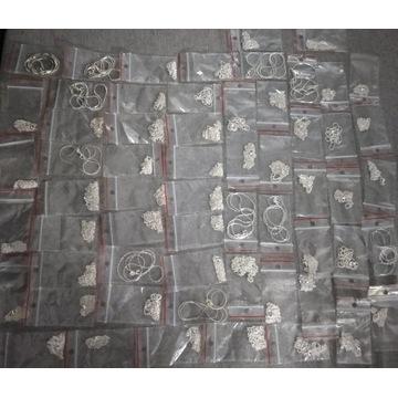 Łańcuszki posrebrzane 60 sztuk licytacja