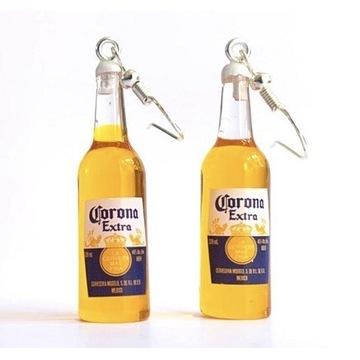 Kolczyki butelka piwa, Corona Extra, srebrne 925